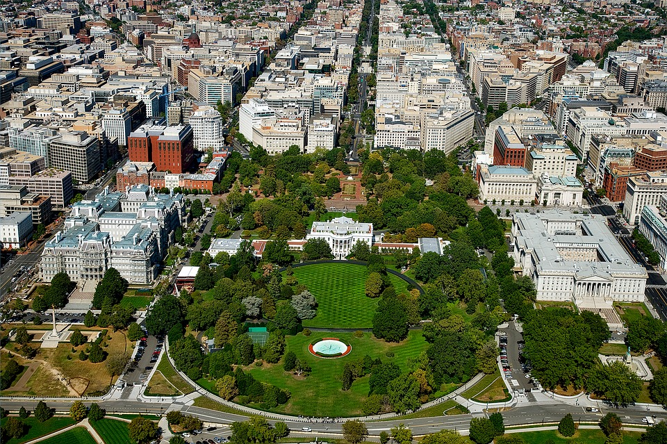 Aerial view of Washington DC - each corner of which is known to our long distance movers Washington DC.
